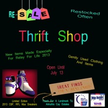 Relay Rocker Thrift Shop Event Board